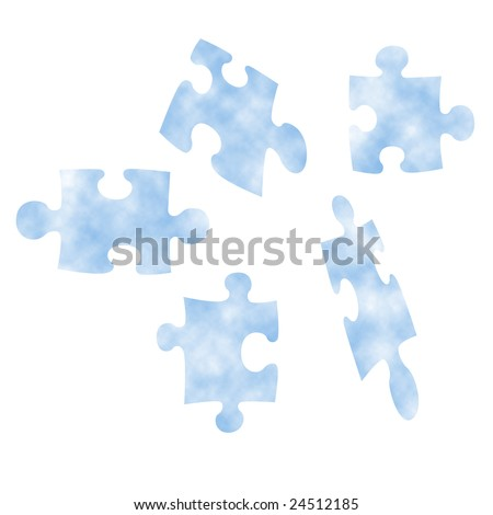 Abstract Conceptual Illustration of Light Blue Cloud Puzzle Pieces Isolated on a White Background