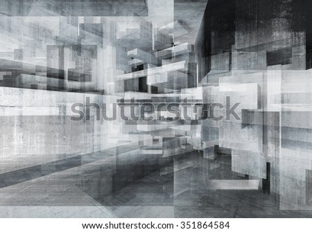 Abstract concrete background with chaotic cubes constructions, multi exposure high-tech concept, 3d illustration - stock photo
