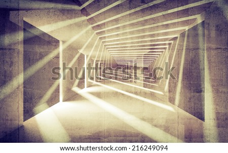 Abstract concrete 3d interior perspective with light beams - stock photo