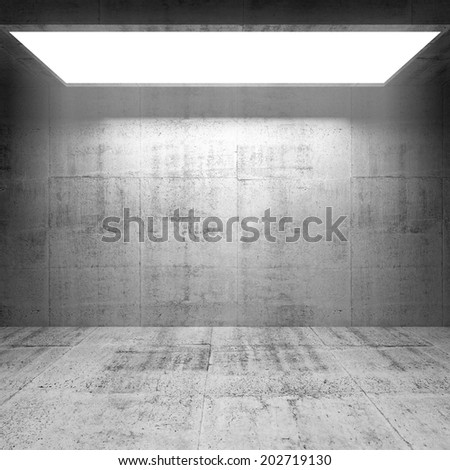 Abstract concrete 3d interior with bright light portal