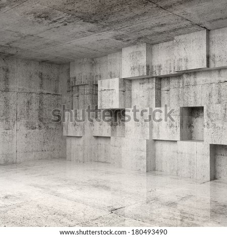 Abstract concrete 3d interior with cubes on the wall - stock photo