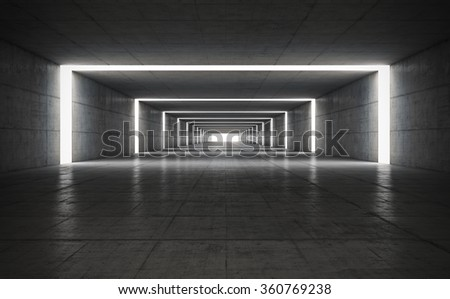 Abstract concrete geometric background with light. 3D render