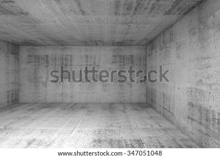 Abstract concrete interior of underground showroom, 3d illustration background