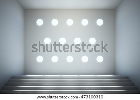 Abstract concrete interior with stairs and round holes in wall. 3D Rendering