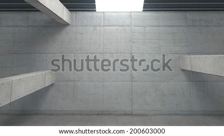 Abstract concrete structure in warehouse - stock photo