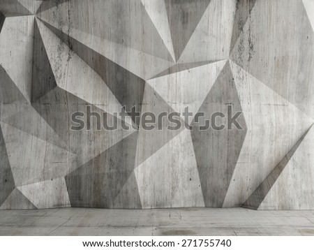 Abstract concrete wall background, 3d illustration - stock photo