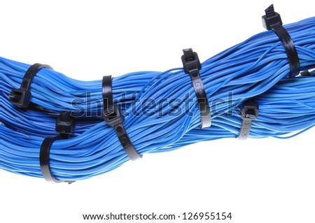 Abstract connections in global computer networks, blue cables - stock photo