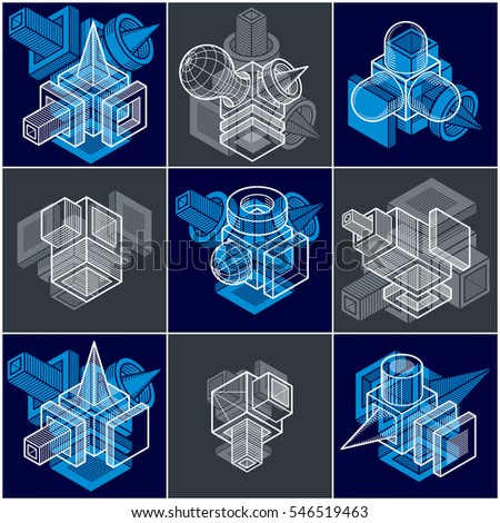Abstract construction scheme blueprint engineering set stock abstract construction scheme blueprint and engineering set isometric dimensional shapes collection malvernweather Gallery