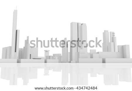 Abstract contemporary cityscape, houses, industrial buildings and office towers. 3d render illustration isolated on white background - stock photo