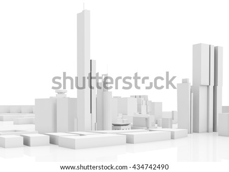 Abstract contemporary cityscape, tall houses, industrial buildings and office towers. 3d render illustration isolated on white - stock photo