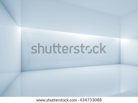 Abstract contemporary interior, empty room with glossy walls and ceiling illumination. Digital 3d illustration, computer graphic