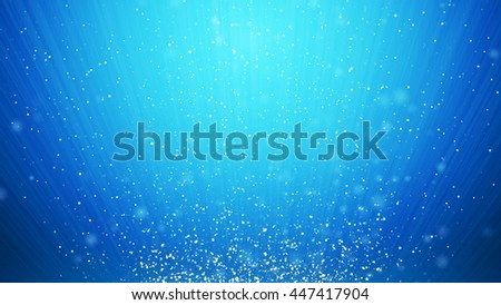 Abstract cool blue swirl waves background flying particles in light beams. - stock photo