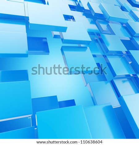 Abstract copyspace background made of blue glossy plates - stock photo