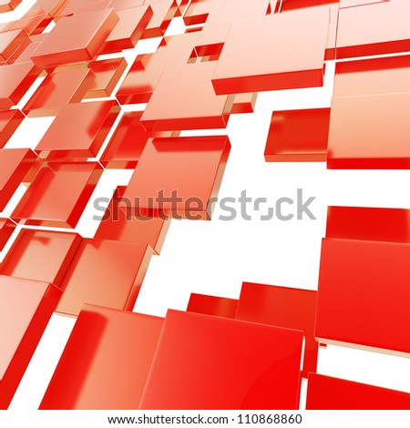 Abstract copyspace background made of red glossy plates on white