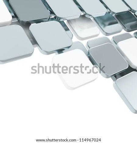 Abstract copyspace chrome metal glossy plate composition background over white with the space for your text - stock photo