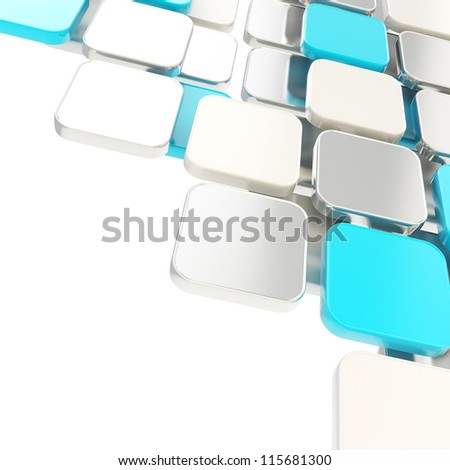 Abstract copyspace glossy blue and metal plate composition background over white with the space for your text - stock photo