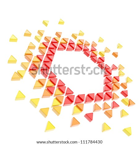 Abstract copyspace hexagon frame backdrop made of tiny glossy red, orange, yellow triangles isolated on white background - stock photo