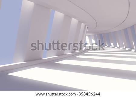 Abstract corridor interior. 3d render illustration