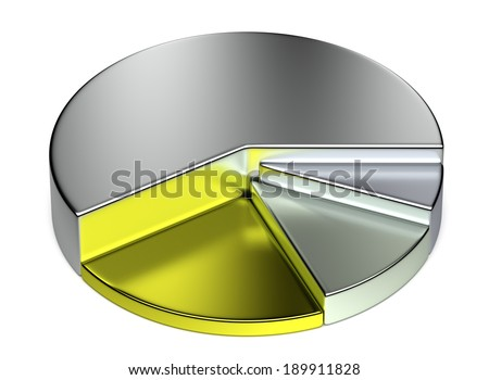 Abstract creative business statistics, financial analysis, precious metal trading concept: growing metallic 3D pie chart on white background - stock photo