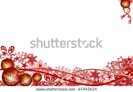 abstract creative christmas Illustration with balls and nsowflakes flowers ribbon red white - stock photo
