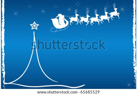 abstract creative christmas tree Illustration with stars and snowflakes blue white