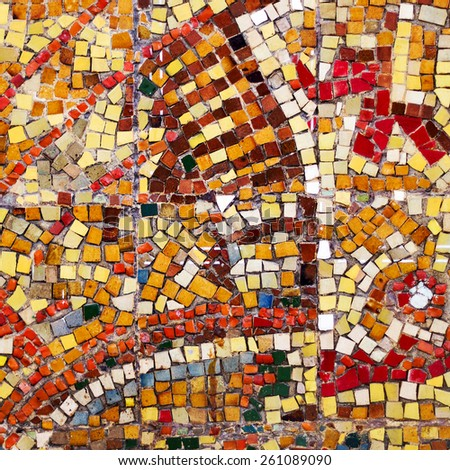 abstract creative color mosaic background of glossy tiles lining the walls of the building - stock photo