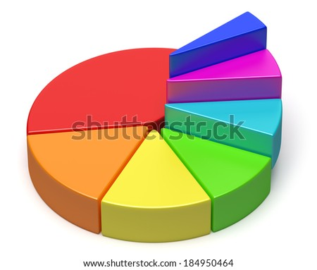 Abstract creative colorful business statistics, financial analysis, success, growth and development concept: colorful 3D pie chart in form of ascending stairs