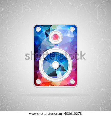Abstract creative concept icon of music column. For web and mobile content isolated on background, unusual template design, flat silhouette object and social media image, triangle art origami. - stock photo