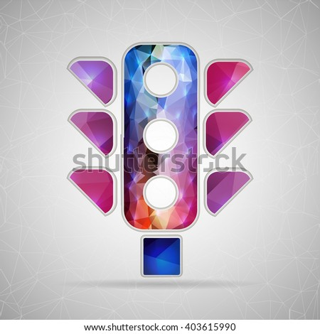 Abstract Creative concept icon of traffic lights for Web and Mobile Applications isolated on background. illustration template design, Business infographic and social media, origami. - stock photo