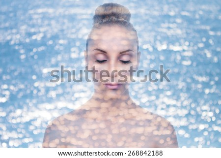 Abstract creative double exposure of photo of beautiful woman combined with water bokeh. Skin moisture and health spa concept - stock photo