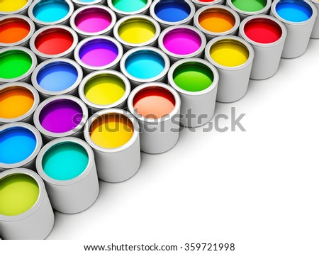 Abstract creativity concept: group of tin metal cans with color paint dye isolated on white background - stock photo