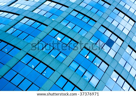 abstract crop of blue skyscrapers business center