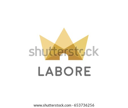Abstract Crown House Logo Icon Design Light Home Royal Logotype