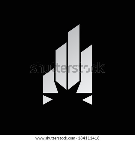 Abstract crystal Branding Identity Corporate logo design template Isolated on a black background - stock photo