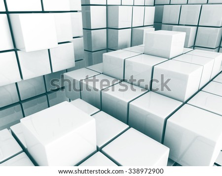 Abstract Cube Blocks Architecture Background. 3d Render Illustration - stock photo