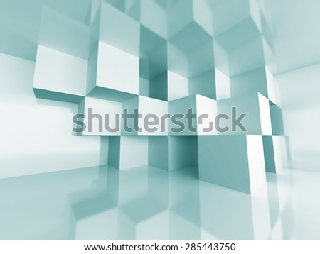 Abstract Cube Design Room Interior Architecture Background. 3d Render Illustration - stock photo