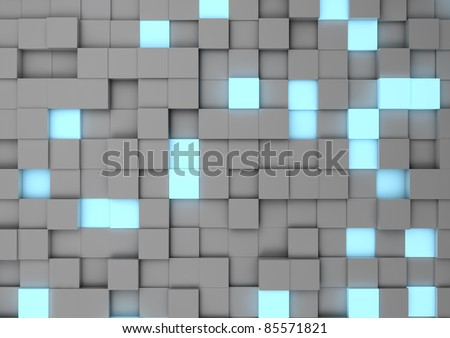 Abstract cube wall - stock photo