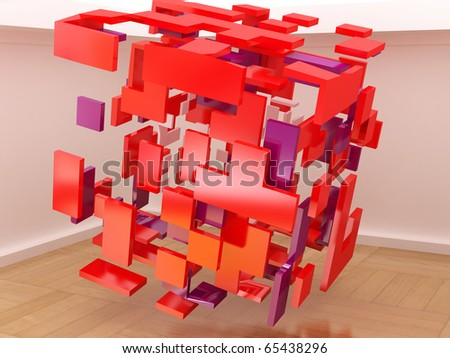 Abstract cubes in the hall.