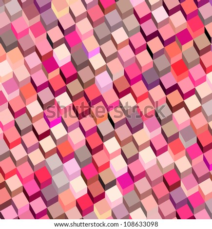 abstract cubical multiple pink red pattern backdrop - stock photo