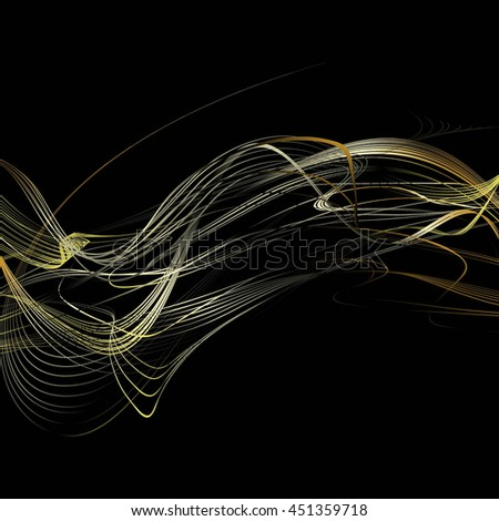 Abstract Curved Background. Golden Lines and Beige Waves. Raster Illustration - stock photo