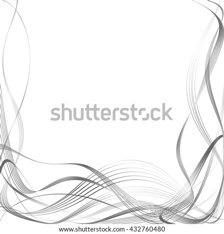 Abstract Curved Pattern. Grey Lines and Black Waves. Raster Illustration - stock photo
