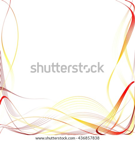 Abstract Curved Pattern. Red Lines and Yellow Waves. Raster Illustration - stock photo