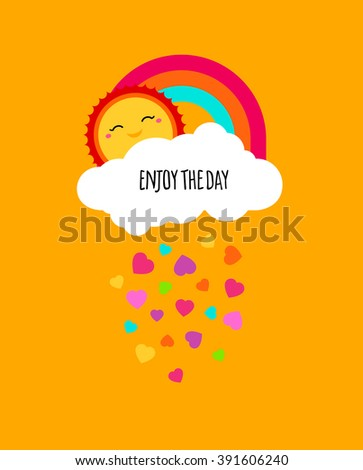 Abstract cute bright cartoon cloud. Raindrops of colorful hearts sweet illustration. Kids bright decorative background. Cute cloud poster design for baby room decor, kids cloth decoration - stock photo