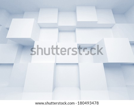 Abstract 3d architecture background with white cubes - stock photo