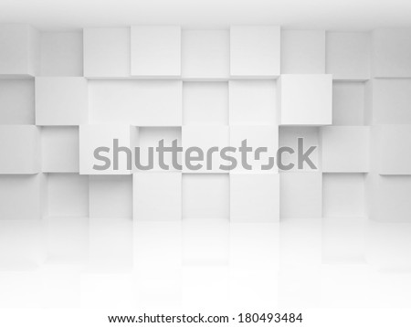 Abstract 3d architecture background with white cubes on the wall - stock photo