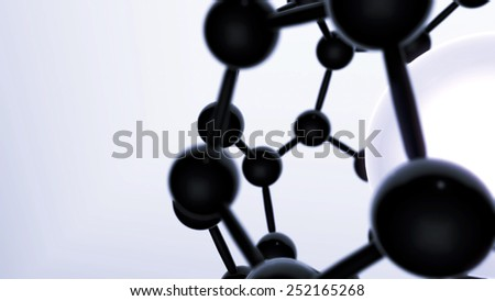 Abstract 3D Background Black And White Floating Rotating Connected Atom Spheres