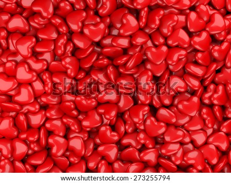 Abstract 3d background from red hearts.  - stock photo
