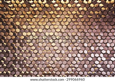 Abstract 3D background with gold hexagons