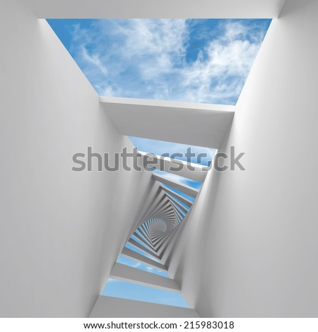 Abstract 3d background with twisted spiral corridor and sky - stock photo