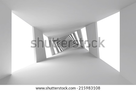 Abstract 3d background with white twisted spiral corridor - stock photo